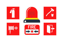 Alarm icons vector illustration. Fire alarm and alarm icons vector set. Caution protection silhouette alarm icons and ring design signal fire alarm icons Stock Photo