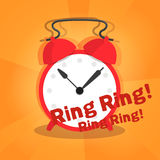 Alarm on orange radial background Stock Images