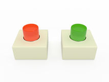 Alarm pushbutton, 3D. Red and green alarm pushbutton isolated on white, 3D Royalty Free Stock Photos