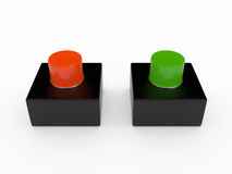 Alarm pushbutton, 3D. Alarm pushbutton  on white, 3D Royalty Free Stock Images