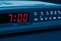 Alarm radio clock. Time to wake up. Alarm radio clock indicating time to wake up Stock Photos