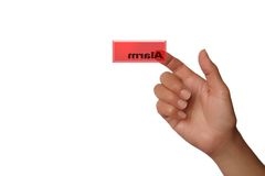 Alarm Red key. Hand pressing alarm button stock photo