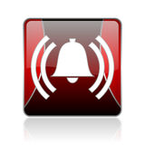 alarm red square web glossy icon Stock Photo