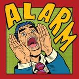 Alarm screams pop art man vector illustration