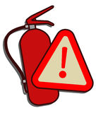 Alarm sign of fire extinguisher. Design of alarm sign of fire extinguisher Stock Photos