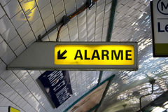 Alarm signal in the tube. Alert - emergency light display in Paris metro Royalty Free Stock Photos