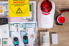 Alarm system home on house plan Royalty Free Stock Image