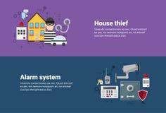 Alarm Thief Security Protection Insurance Web Banner Stock Photos