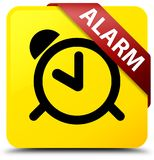 Alarm yellow square button red ribbon in corner. Alarm isolated on yellow square button with red ribbon in corner abstract illustration Royalty Free Stock Photography
