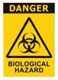 Alarma biológica de la amenaza de la muestra del símbolo de Biohazard Fotos de archivo