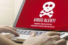 Alarma computacional casera del virus Fotografía de archivo