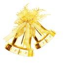 Alarma de cascabeleo de oro de la Navidad Fotografía de archivo
