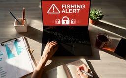 Alarma de la pesca, fraude, virus, bandera cibernética de la detección de la respiración de la seguridad en la pantalla Concepto  fotografía de archivo libre de regalías