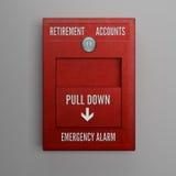 Alarma de las cuentas de jubilación Foto de archivo
