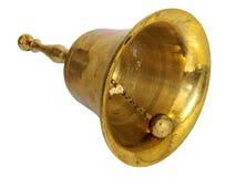 Alarma de mano de cobre amarillo antigua aislada en blanco Foto de archivo libre de regalías