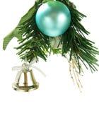 Alarma de plata, chuchería ciánica que cuelga en el árbol de navidad Fotografía de archivo libre de regalías