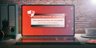 Alarma de Ransomware en una pantalla del ordenador portátil ilustración 3D ilustración del vector