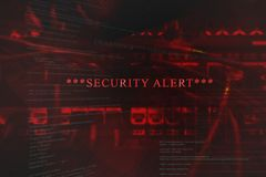 Alarma de seguridad emeregente en el ordenador fotografía de archivo