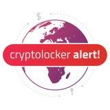 Alarma del cryptolocker del mensaje en el fondo de un mapa del mundo Fotografía de archivo libre de regalías