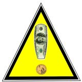 Alarma del dinero. Dólares de EE. UU. como muestra de la exclamación Imagen de archivo