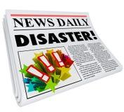 Alarma del problema de la crisis del título del desastre del periódico Imagen de archivo libre de regalías