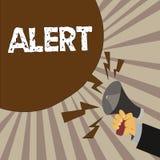 Alarma del texto de la escritura Concepto que significa una advertencia de la señal del aviso del peligro el estado de ser vigila libre illustration