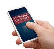 Alarma del virus en Smartphone Imagen de archivo libre de regalías