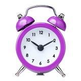 Alarma magenta colorida del reloj del vintage aislada Imagen de archivo libre de regalías