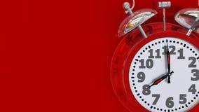 Alarma roja de las 8 del reloj retra - representación 3d imagenes de archivo