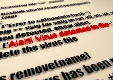 alarma Texto de la detección del virus en código de la escritura del extracto del ordenador Imágenes de archivo libres de regalías