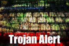 Alarma Trojan en un fondo de la tecnología Foto de archivo libre de regalías