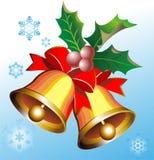 Alarmas de la Navidad del oro Imagen de archivo