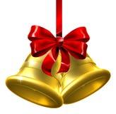 Alarmas de la Navidad del oro con el arqueamiento rojo Imágenes de archivo libres de regalías