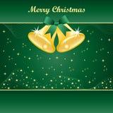 Alarmas de la Navidad del oro en verde Imagen de archivo libre de regalías