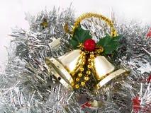 Alarmas de la Navidad en los estaños de plata Foto de archivo