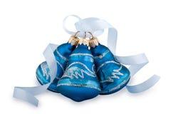 Alarmas de mano azules de la Navidad Foto de archivo libre de regalías