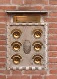 Alarmas de puerta de cobre amarillo fotografía de archivo