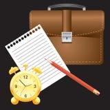 alarmbriefcas clock det paper blyertspennaarket Arkivfoto