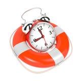 Alarmclock i Lifebuoy på vitbakgrund. Arkivbild
