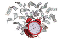 Alarmclock met vliegende dollars Royalty-vrije Stock Foto