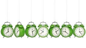 Alarme 3D d'horloge blanc au moment de l'exécution d'isolement par concept de fond illustration stock