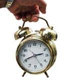 Alarme d'horloge d'or de vintage image stock