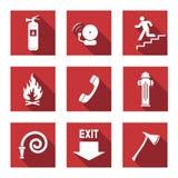 Alarme de incêndio ajustados ilustração royalty free