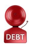 Alarme do débito sobre o branco ilustração stock