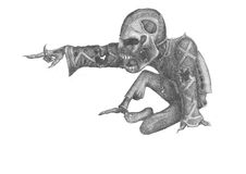 Alarmed by undead. Image of the undead, pointing his hand at something in front Royalty Free Stock Photography