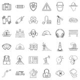 Alarming icons set, outline style Stock Photos