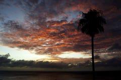 Alarming sunset on the ocean. Coast Stock Image