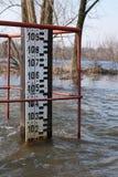 Alarming water level. Alarm inundation. Water level. Flood Stock Image