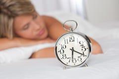 alarmowa tła zegaru srebra kobieta Zdjęcie Stock