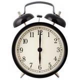 Alarmuhr, die sechs Uhr zeigt. Lizenzfreie Stockfotos